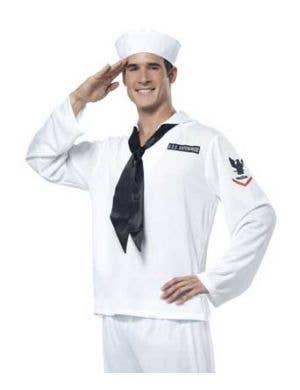 Navy Sailor Men's Marine Costume in White