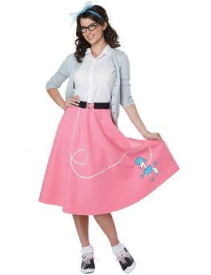 50's Poodle Skirt Women's Pink and White Retro Costume
