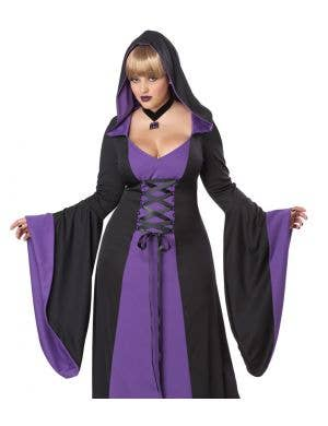 Hooded Plus Size Women's Purple Halloween Costume Robe