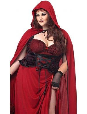 Dark Red Riding Hood Plus Size Women's Halloween Costume