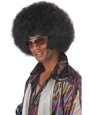 Afro Men's Black Frizzy Costume Wig With Sideburns