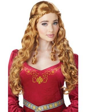Lady Guinevere Dark Blonde Curly Costume Wig With Braids