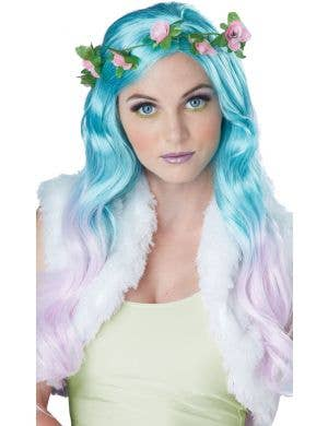 Floral Fantasy Women's Blue And Pink Wig With Flower Crown