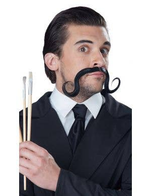 Surreal Stache Men's Curled Black Costume Moustache