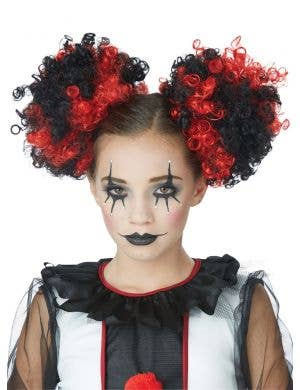 Clown Puffs Red And Black Clip In Curly Buns