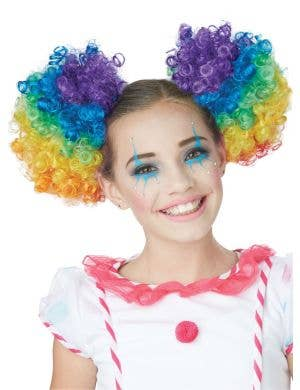 Clown Puffs Rainbow Clip In Curly Buns