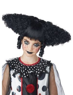 Creepy Clown Women's Curly Black Halloween Costume Wig
