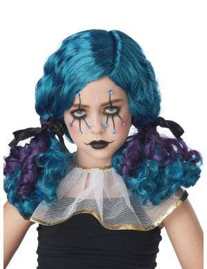 Dolly Girl's Curly Blue and Purple Pigtails Costume Wig