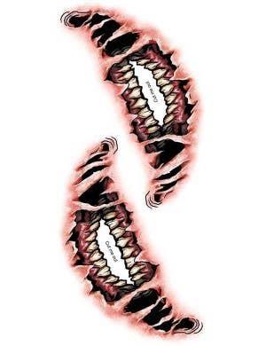 Big Mouth Demon Halloween Temporary Tattoo FX