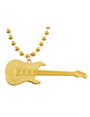 Rocker Guitar Themed Gold Costume Necklace