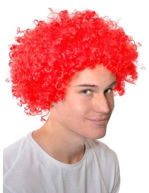Adults Red Curly Afro Wig Clown Costume Accessory