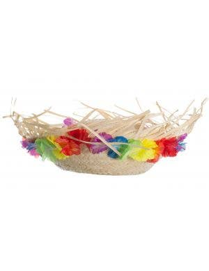 Hawaiian Luau Straw Hat With Flowers