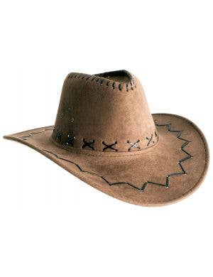 Medium Brown Faux Suede Cowboy Unisex Costume Hat Accessory