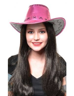 Metallic Pink Women's Cowboy Hat Costume Accessory