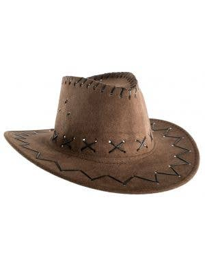 Faux Suede Boy's Brown Cowboy Hat Costume Accessory