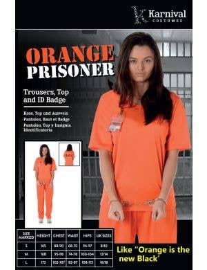 Inmate Women's Orange Prisoner Uniform Costume