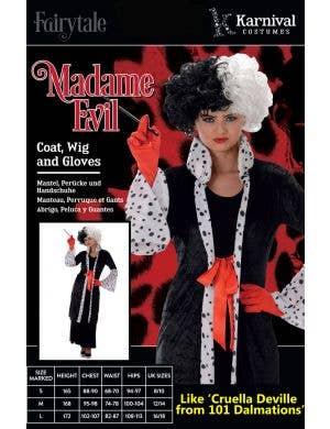 Madame Evil Women's Cruella De Vil Costume