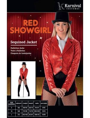 Showgirl Red Sequined Women's Costume Jacket