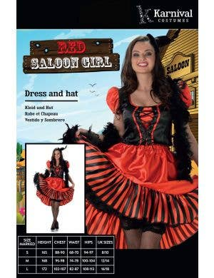 Wild West Red Saloon Girl Women's Costume