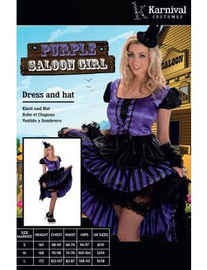 Wild West Purple Saloon Girl Women's Costume