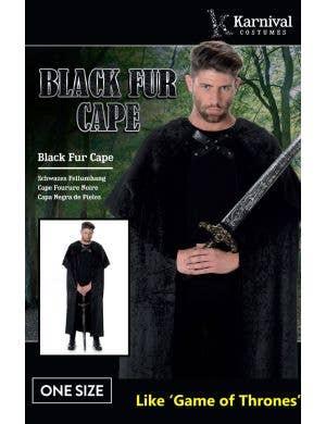 Medieval Black Fur Adult's Costume Cape