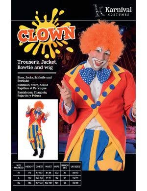 Colourful Clown Men's Fancy Dress Costume