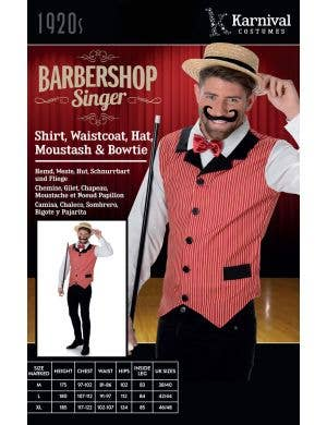 Barbershop Singer Men's Fancy Dress Costume
