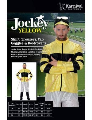 Horse Racer Men's Yellow Jockey Costume