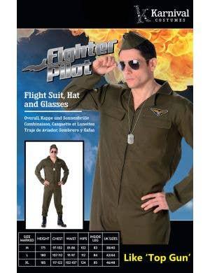 Fighter Pilot Men's Top Gun Flight Suit Costume