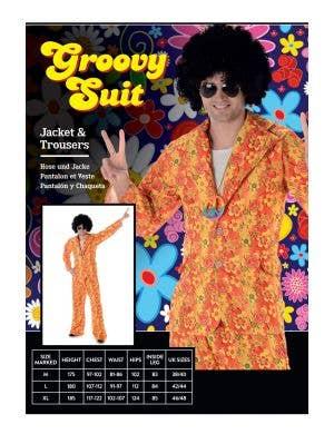 Groovy 1970's Orange Hippie Suit Men's Costume