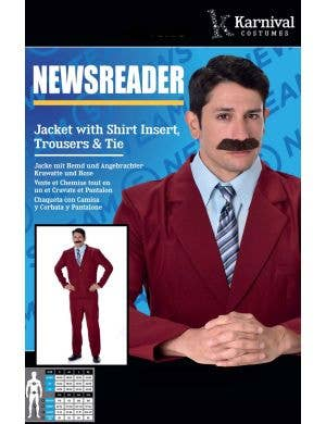 1970's Newsreader Men's Ron Burgundy Anchorman Costume