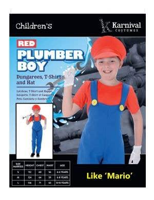 Plumber Boy Mario Boys Fancy Dress Costume