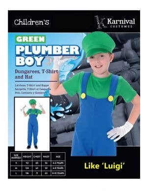 Plumber Boy Luigi Boys Fancy Dress Costume