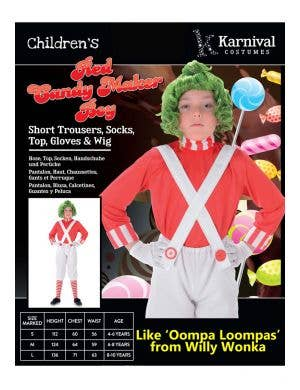 Candy Maker Boys Book Week Costume