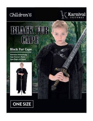 Long Black Furry Boys Halloween Costume Cape