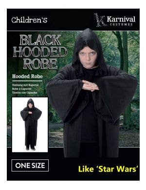 Hooded Boys Black Halloween Costume Robe