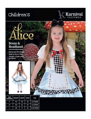 Alice in Wonderland Girl's Fancy Dress Costume
