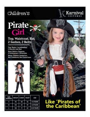 Salty Doll Girl's Pirate Captain Costume
