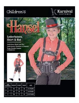 Storybook Hansel Boys Book Week Costume