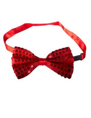 Sequined Satin Bow Tie - Red