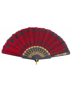 Geisha Hand Held Black And Red Decorated Costume Fan
