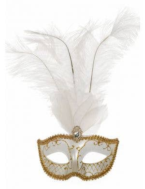 Elegant Tall Feather Masquerade Mask, White & Gold