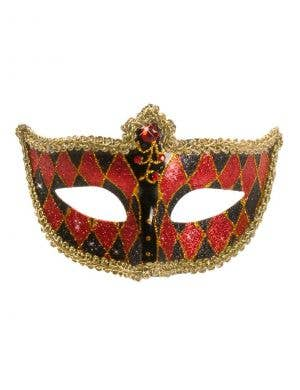 Harlequin Glitter Venetian Masquerade Mask - Black and Red