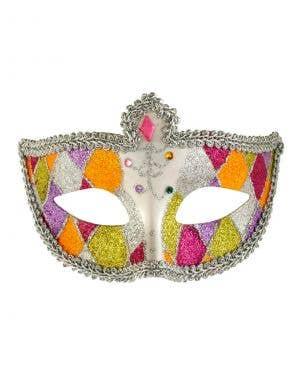 Harlequin Glitter Venetian Masquerade Mask - Silver Braid