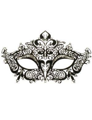 Lacework Metal Rhinestone Masquerade Mask - Black