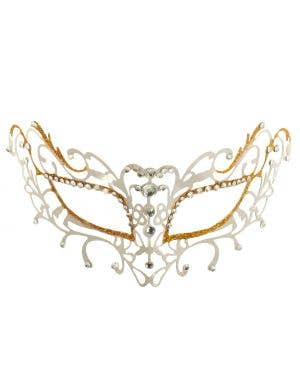 Antique Deluxe Metal Masquerade Mask - White and Gold