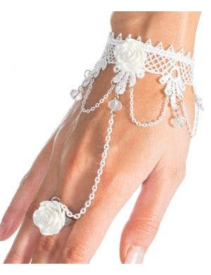 White Roses and Lace Slave Bracelet