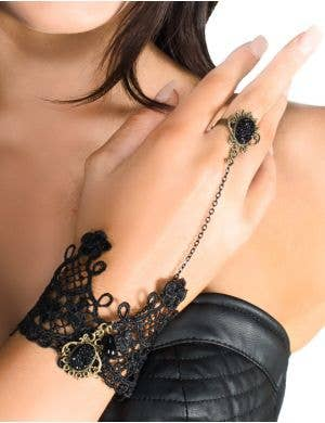 Black Lace and Crystal Slave Bracelet