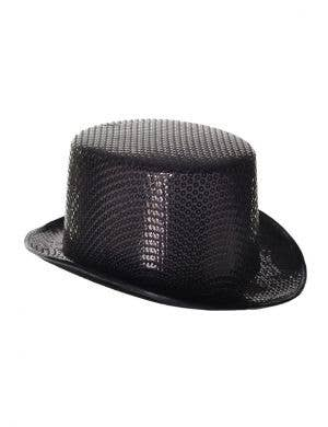 Sequinned Costume Top Hat in Black
