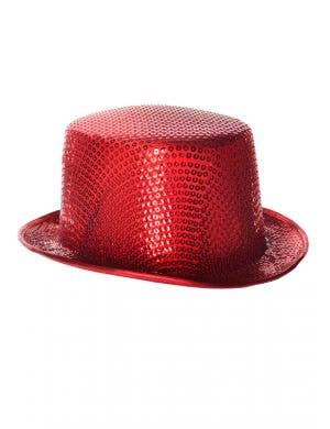 Sequinned Costume Top Hat in Red